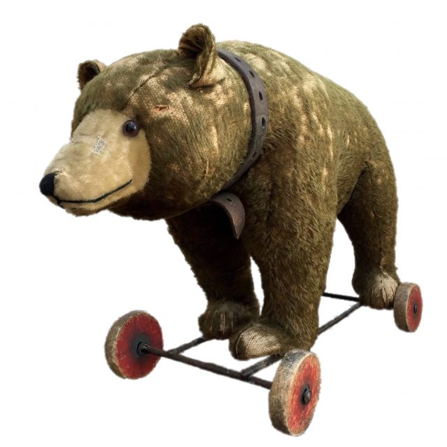 Pre-War Steiff Straw Filled Brown Mohair Growling Grizzly Bear on Wheels Sold for £400