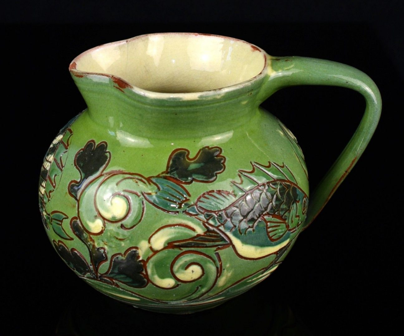 C H Brannam Barum 1892 Green Studio Arts Crafts Pottery Fish Jug Vase Pm Antiques Collectables