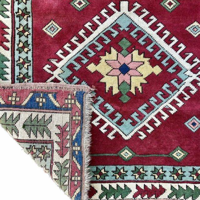 RED-GROUND-TURKISH-RUG-CARPET-GEOMETRIC-AZTEC-LEAF-BORDERS-MEDALLIONS-160x120cm-173315257467
